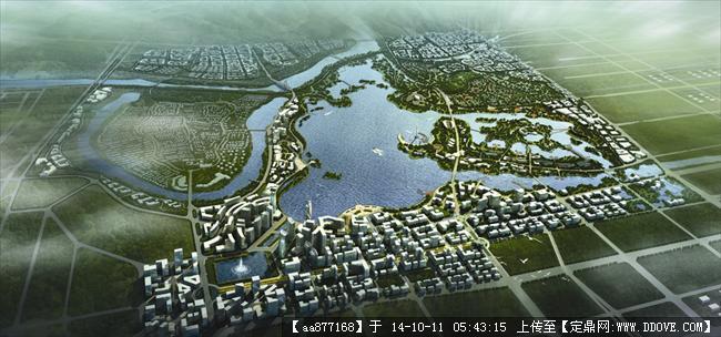 松雅湖规划设计鸟瞰效果图