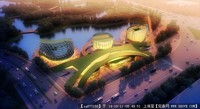 芜湖某滨水建筑规划设计效果图,很漂亮的大型规划设计效果