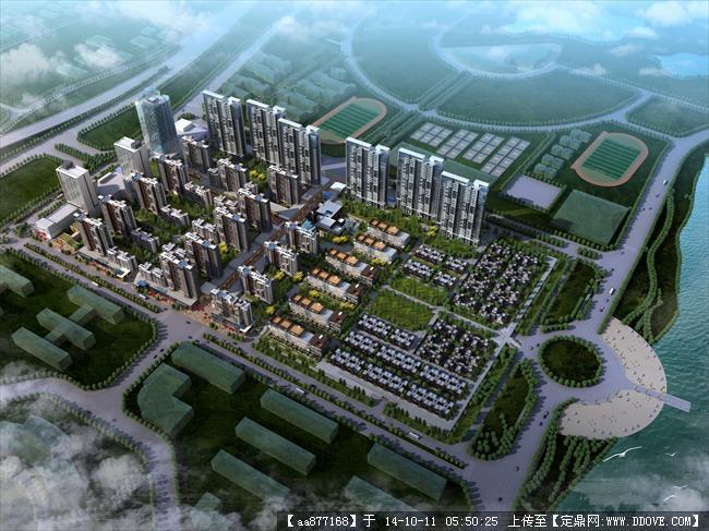 武汉大学城居住区规划设计鸟瞰效果图