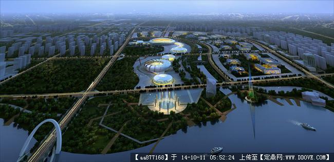 濮阳城市规划设计鸟瞰效果图,很漂亮的大型规划设计效果图,高清图片