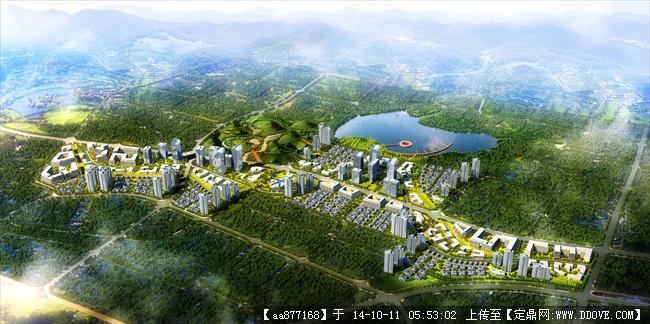 青岛天安城市规划设计鸟瞰效果图,很漂亮的大型规划设计效高清图片