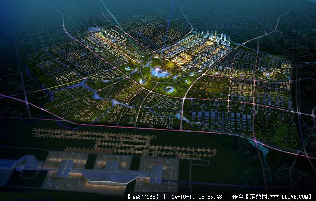 沈阳新城规划设计鸟瞰效果图图片