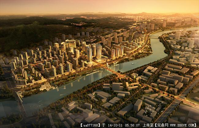 石城县梅湖片区城市设计鸟瞰效果图,很漂亮的大型规划设计高清图片