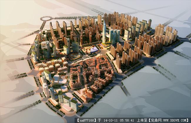 石狮市城市规划设计鸟瞰图,很漂亮的大型规划设计效果图,值高清图片