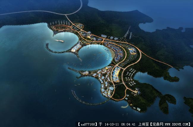 平潭岛滨水城市规划设计鸟瞰图,很漂亮的大型规划设计效果
