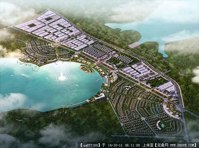 聊城某城市规划设计鸟瞰效果图
