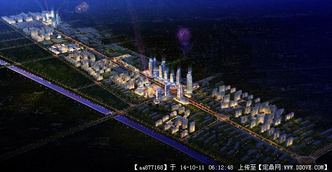 罗峰路城市规划设计鸟瞰夜景效果图高清图片