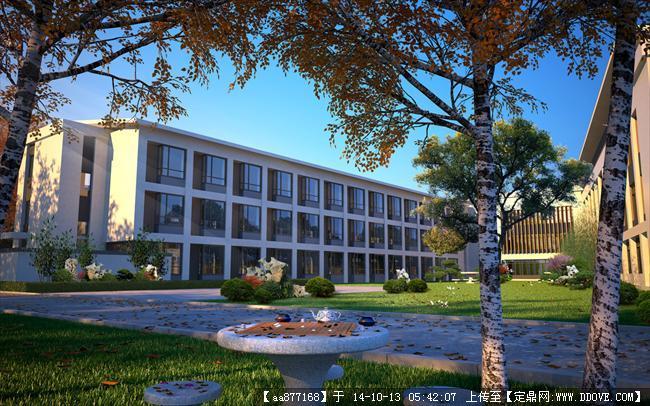 崇明养老院居住建筑设计效果图,很经典的设计方案,效果图制