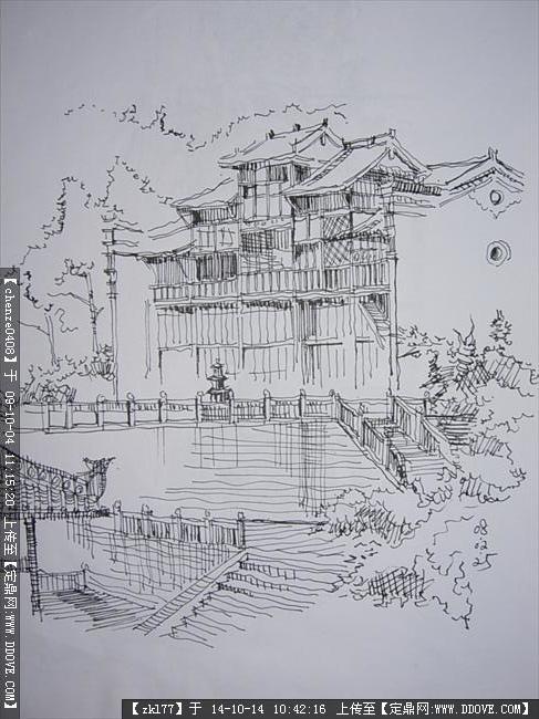 钢笔画多张的下载地址,园林效果图,手绘效果,园林景观