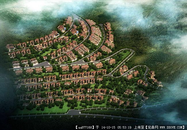 丽江洱海山地别墅住宅建筑设计效果图