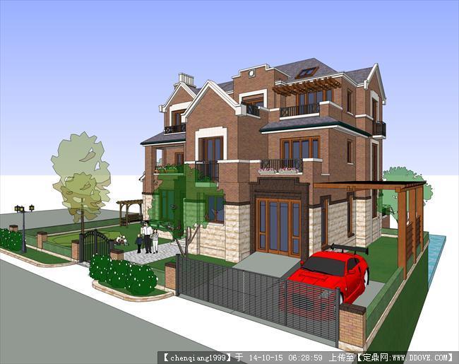 英式别墅建筑设计方案su模型4
