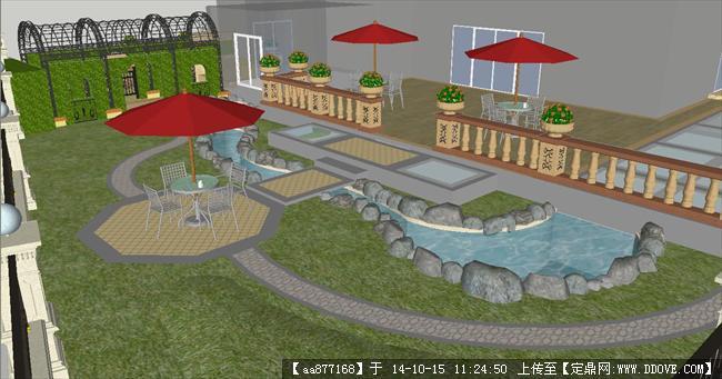 欧式别墅花园庭院su精致设计模型