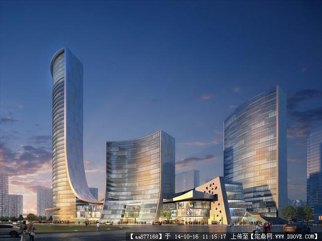 定鼎网 定鼎建筑 建筑效果图 公共建筑效果图 长沙天福项目建筑设计效