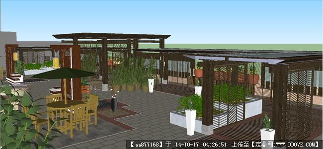中式屋顶花园景观方案su精细设计模型