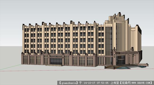 新古典风格办公楼su精品模型