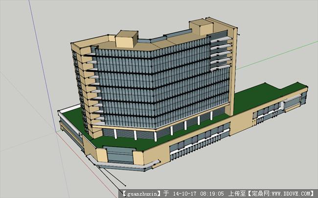 现代风格高层办公建筑su模型精品拐角办公楼