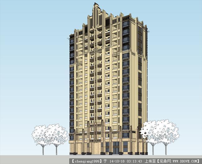artdeco楼王建筑设计su精模设计素材免费封面图片