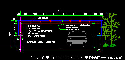 地下车库机动车出入口钢结构玻璃顶棚施工图
