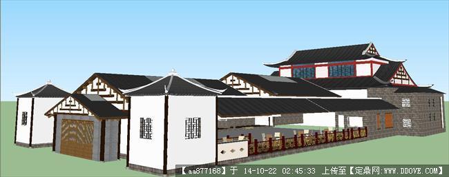 中式戏台建筑设计su精品设计模型