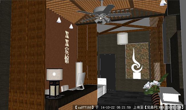 賓館接待大廳室內裝修su精品設計模型