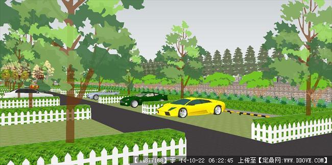 停车广场园林景观su精品设计模型