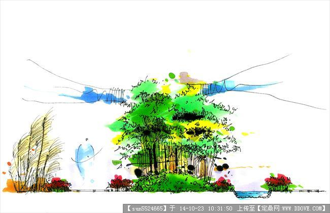 几张精细马克笔手绘效果图的图片浏览,园林效果图,,.