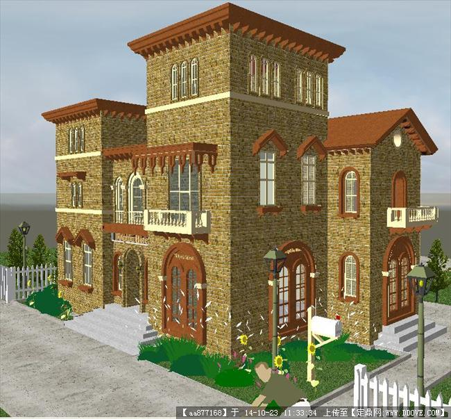 西式小别墅建筑su独特设计模型