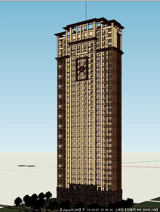 欧式高层建筑效果图模型-54
