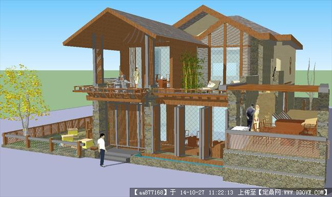一个泰式别墅建筑方案su精致设计模型