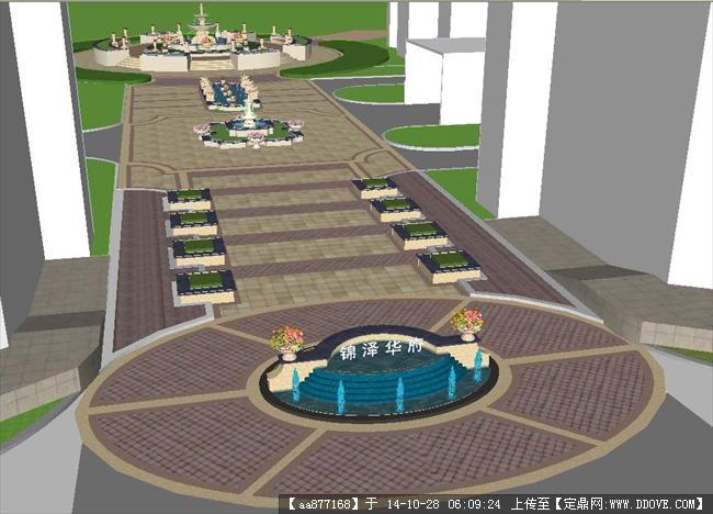 欧式小区入口中轴景观方案精致su模型