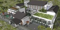 新中式山地酒店建筑方案精致su模型,该模型制作很详细,细节丰富,设计图片