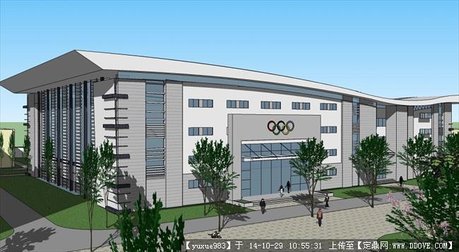 公共建筑现代体育馆建筑模型模型su模型