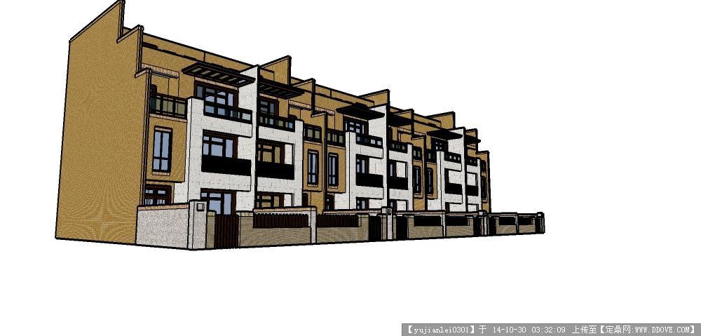 中式联排别墅设计方案su模型