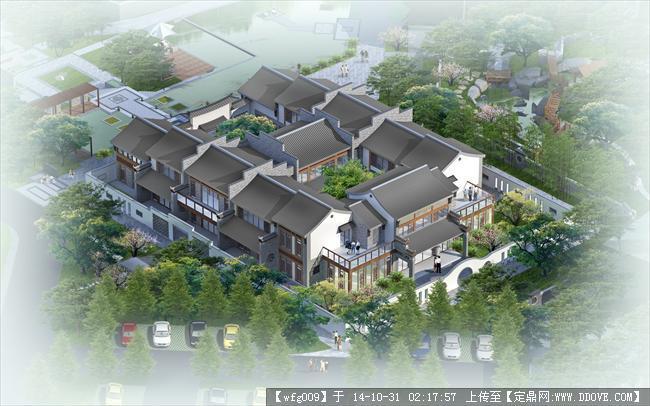 新中式木结构四合院平面图
