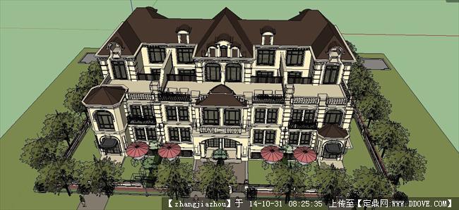 经典欧式别墅建筑设计su模型