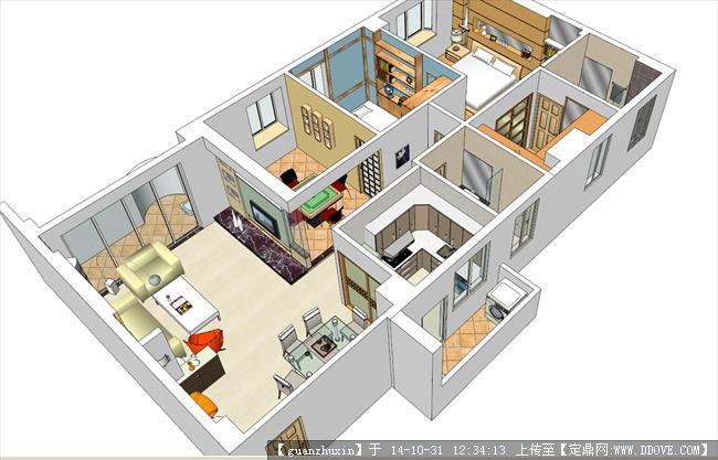 三房户型装修方案精品su室内方案模型家具02的下载图片