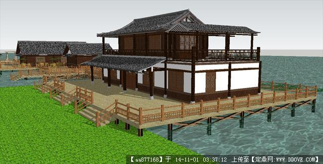 滨湖仿古农家乐建筑方案精细su设计模型