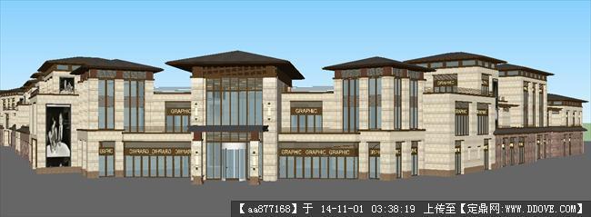 沿街新中式商业住宅楼精细SU设计模型高清图片