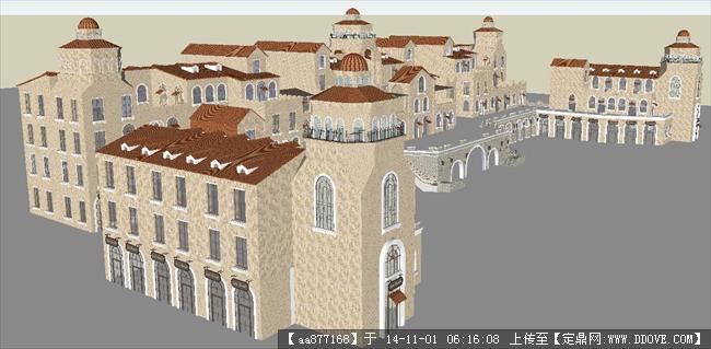 欧式大型商业购物广场精细su设计模型
