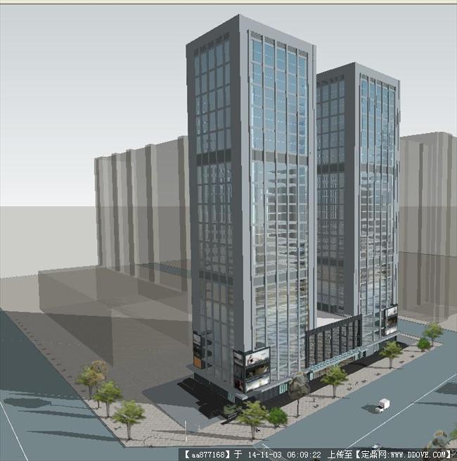 双子塔楼建筑方案精细su设计模型