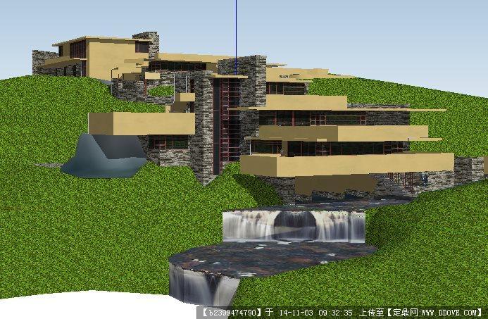 流水别墅建筑和景观设计su模型的下载地址