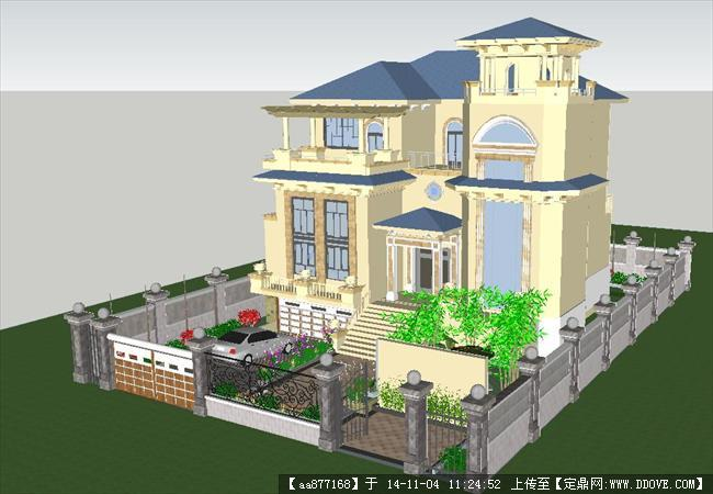 欧式小别墅精细su设计模型