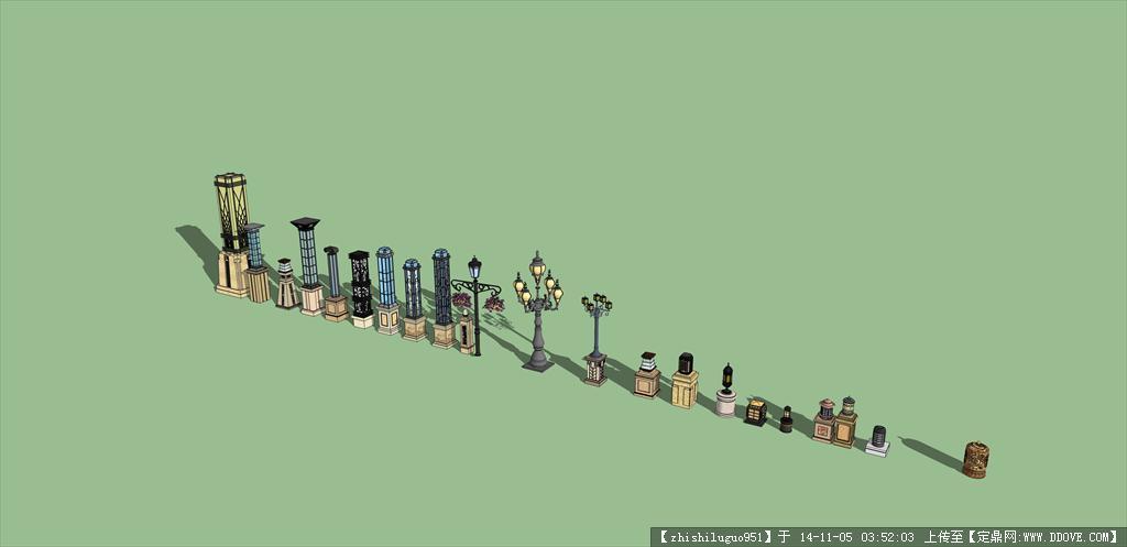 非常精致的欧式灯柱su模型图片