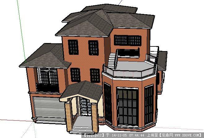 欧式别墅建筑设计详细su模型