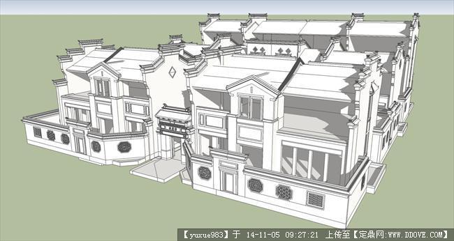 中式精细徽派联排别墅su模型素材