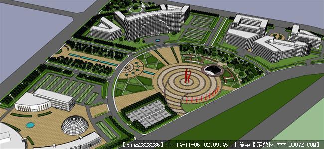 城市广场设计经典su模型