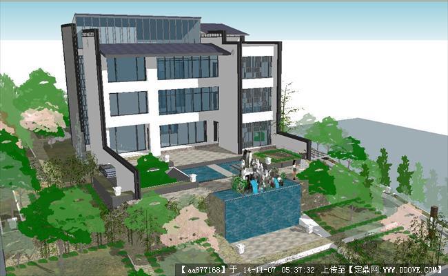 中式庄园别墅建筑方案精细su设计模型图片