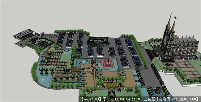 民俗风情园景观规划方案su精致设计模型