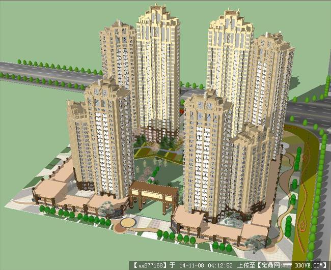 欧式住宅小区带景观方案su精致设计模型