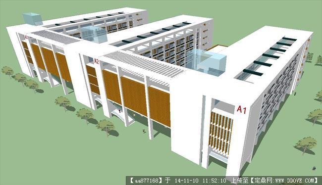 小学主体教学楼su精致设计模型